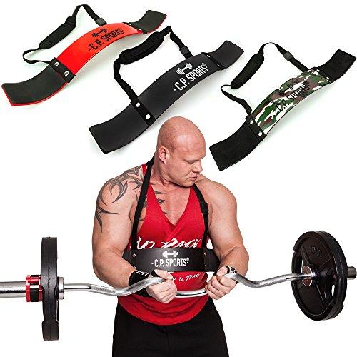 C.P. Sports Arm Blaster Bizeps Isolator für Bodybuilding, Kraftsport & Gewichtheben - Bizepstrainer, Trizeps Bomber (Rot)