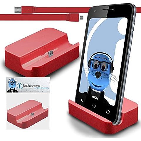 iTALKonline BlackBerry Classic Q20 2015 Rosso Micro USB Sync & Charge / ricarica Desktop Dock stand di ricarica con 1,2 metro USB di alta qualità FLAT a Micro USB di Sincronizzazione e Ricarica