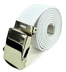 Belle Donne- Unisex Men/Women Heavy Duty Canvas Military Style Belt-White