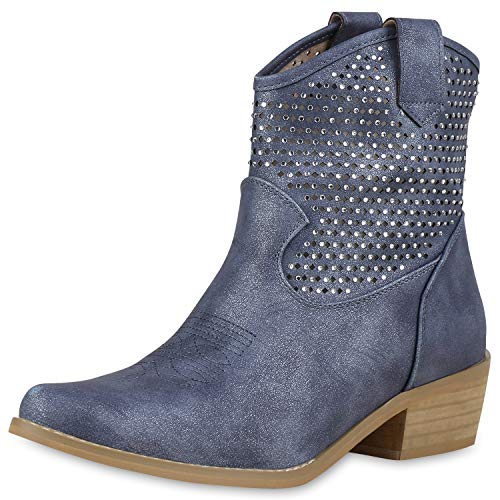 SCARPE VITA Damen Stiefeletten Cowboy Boots Strass Western Cowboystiefel 180113 Dunkelblau 40