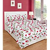 Cotton Double Bedsheet With 2 Pillow Covers Premium Quality Bed Sheets For Double Bed Multicolor (White_red-Liana Print)