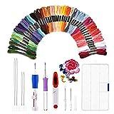 Broderie Aiguille Magique Ensemble de Stylo de Broderie Magique Stylo à Broder Punch Needle Kit Craft outil y Compris 50 Fils de Couleur pour Bricoleurs Threaders Tricot (50 Colors)