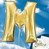 Folienballon - BUCHSTABE M GOLD - XXL 70cm, Luftballon mit Buchstaben + PORTOFREI mgl + Geschenkkarte + Helium & Ballongas geeignet. High Quality Premium Ballons vom Luftballonprofi & deutschen Heliumballon Experten. Luftballon Geschenk und lustige Ballon Deko