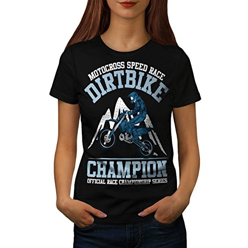 Motorrad Schmutz Rennen Motorradfahrer Damen S-2XL T-shirt | Wellcoda Black