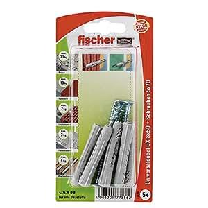 Fischer 77856 Lot de 5 Chevilles universelle UX 8 x 50 mm SK
