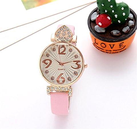 WGE Fashion Mosaic Diamond Watch Women'S Quartz Female Watch Peach Heart Student Lady Belt Watch , 2