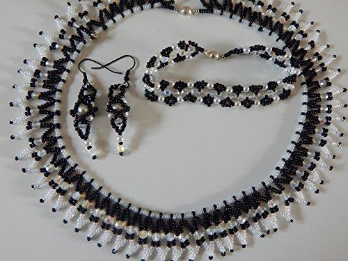 Glasperlencollier mit Armband und Ohrhaken- 3 teilig