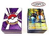 Steadyuf 120 Stücke Pokemon Karte, Pokemon Spielkarte Deutsch Flash Karte Lernspielzeug für Entwicklung Denken Pokemon Pet Elf Team Up Spielkarte (80 Tag Team + 20 Mega + 20gx)