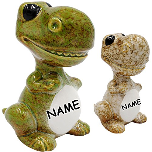 alles-meine.de GmbH große Spardose -  Dinosaurier - Tyrannosaurus Rex - Farb-Mix  - inkl. Name - stabile Sparbüchse - aus Porzellan / Keramik - Dinos Saurier - Geldgeschenk / K..
