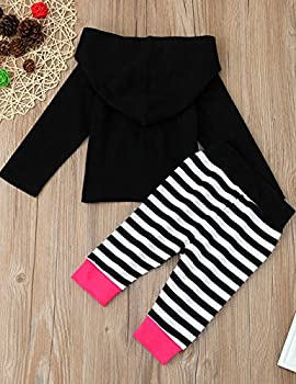 Weant Baby Boy Girl Clothes Unisex Infant Outfits Set Clothing Halloween Costume 2pcs Hoodie Sweatshirt Tops + Striped Pants (12 - 18 Months, Hot Pink) 1