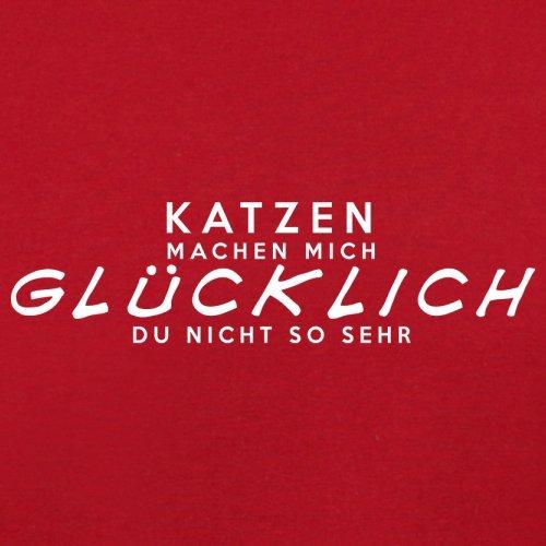 Katzen machen mich glücklich - Herren T-Shirt - 13 Farben Rot