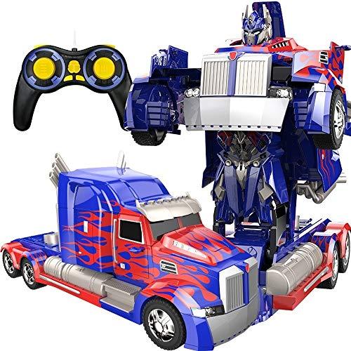 PETRLOY LKW Verformung Optimus Prime RC Spielzeug Transforming Robot Remote Control 360 Speed   Drifting Semi-Truck Robot Spielzeug 11 Jahre alt Jungen Geburtstagsparty Modell ABS Transformers Stunt C - Speed-fernbedienung