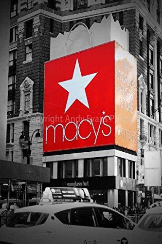 Foto ein 30,5 x 45,7 cm Fotodruck MACYS Times Square New York City Vereinigten Staaten von Amerika Hochformat Foto Farbe getöntes Weiß Schwarz und Bild Fine Print