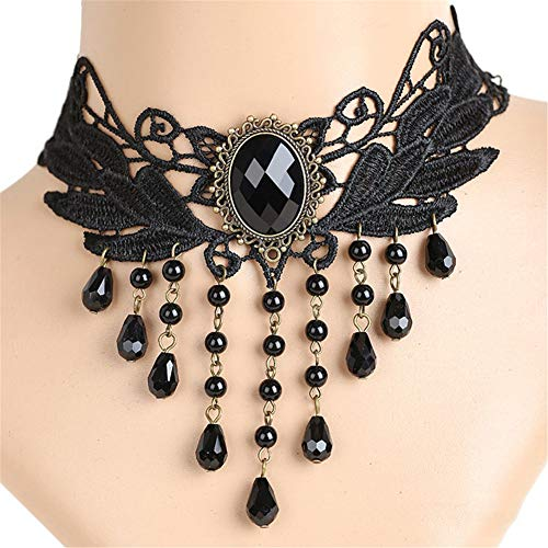 OOFAY Choker Halskette, Women es Punk Style Gothic Black Lace Tassels Tattoo Choker Chain Bead Pendant Halskette für Hochzeitsfeier