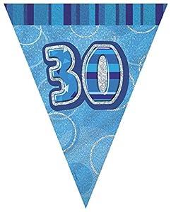 Unique Party- Banderines cumpleaños, Color azul, edad 30 (92083)