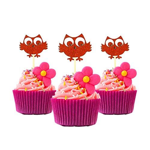 Eule Cupcake Topper Farbe Kupfer 12Stück Cupcake Topper Dekoration Kuchen Graduation Baby Dusche (Dekorationen Baby-dusche Eulen)
