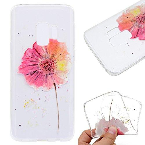 CoverKingz Handyhülle für Samsung Galaxy S9 Hülle Red Flower Motiv Silikon Case Schutzhülle mit Druck Dünn Slim Bild Handytasche Print Blume Cover Fashion
