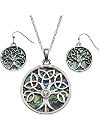 BellaMira Abalone Celtic Tree of Life Pendant Necklace or Earrings Natural Paua Shell Silver Plated Jewellery for Girls Women Gift Boxed