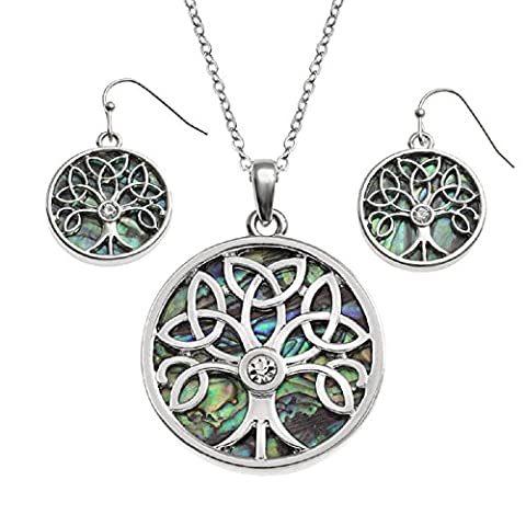 BellaMira Abalone Tree of Life Pendant Necklace & Earrings Natural Paua Shell Silver Plated Yoga Meditation Mystic Healing Jewellery for Girls Women Gift Boxed (Abalone Celtic Jewellery
