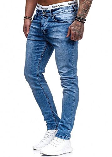 Herren Designer Chino Jeans Hose Basic Stretch Jeanshose Slim Fit W28-W36