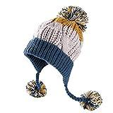 Xinqiao Damen Winter Deckel Peruanisch Mütze Vlies Schädel Gestreift Klumpig Hut (Blau)