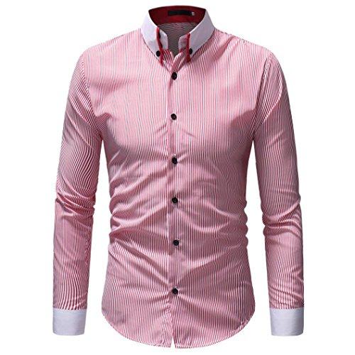 ZIYOU Hemden Herren, Männer Gestreift Hemd Shirt Herbst Winter/Casual Langarm Streetwear Freizeithemden für Freizeit, Business und Hochzeit (3XL,Rosa)