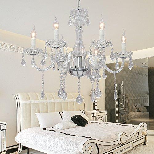 Ottimizzata ed elegante salone lampada di cristallo di vetro con 6 camere ristorante di cristallo lampadario di cristallo Lampadario (bianco)