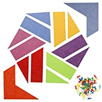 HERNGEE Felt Bulletin Board with Push Pins for Home Décor, Colored Self Adhesive Message Board 2 Shape Set of 16 with 50pcs Thumb Tacks for Office Organization