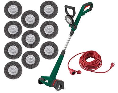 Nettoyeur de joints électrique avec 10 brosses métalliques - 400 W - Manche télescopique - Protection anti-éclaboussures - Changement de brosse sans outil