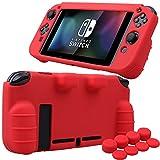 Pandaren silicona Empuñadura Protector funda protectora para Nintendo Switch consola(rojo) + Joycon empuñaduras de pulgar thumb grips x 8