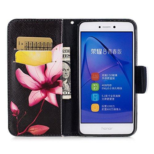 Huawei P8 Lite 2017 (5.2 pouce) Coque , PU Cuir Étui Protection Wallet Housse la Haute Qualité Pochette Anti-rayures Couverture Bumper Magnétique Antichoc Case Anfire Cover pour Huawei P9 Lite (2017)  Rouge Lotus