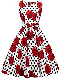 FAIRY COUPLE 50s Vintage Retro Floral Cocktail Swing Party Dress with Bow DRT017