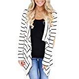 VENMO Damen Streifen Casual Cardigan Jacke Strickjacke Kimono Cardigan Cover Up Patchwork Outwear Damen Irregular Cardigan Strickjacke Lose Kimono Strickmantel Langarmshirt Top (white, L)