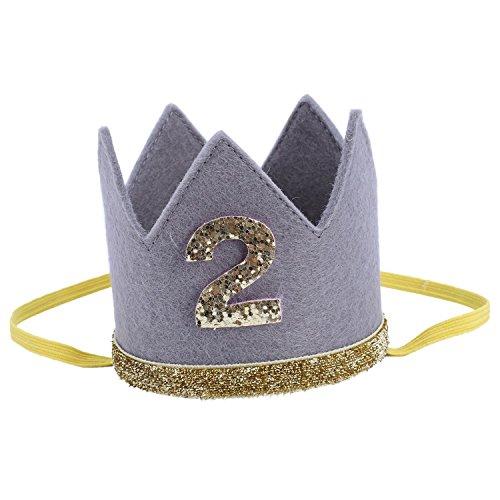 SODIAL Baby Junge Maedchen ersten Geburtstag Hut Krone Zahlen Stirnband Tiara-Partei Foto Requisiten grau 2