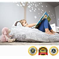 MiniOwls TOY STORAGE BEAN BAG - Cover - fits 100L/26 gal - Stuffed Animal Organizer in Gray - Large, Soft & Comfy Cover that Creates Cozy Lounger Bed - 3% donation to Autism Foundation …