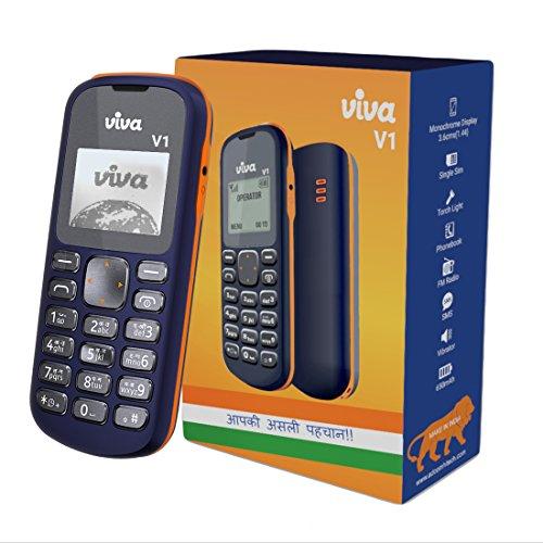 Viva V1 Single SIM Mobile Phone with 650mAh Battery and 1.44-inch screen (Blue & Orange)