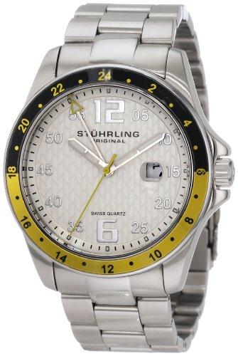 Stuhrling Original Uomo 289.33212 Aquadiver Regatta Galleon Swiss Quartz Date Stainless Steel Bracelet Orologio