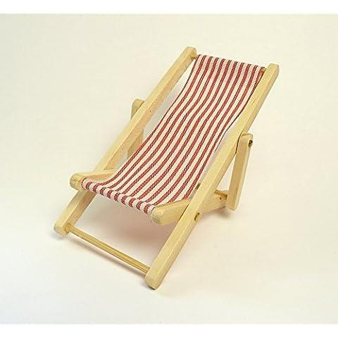Rojo y Blanco Rayas Retro plegable Tumbona escala 1: 12(accesorio Jardín de hadas)