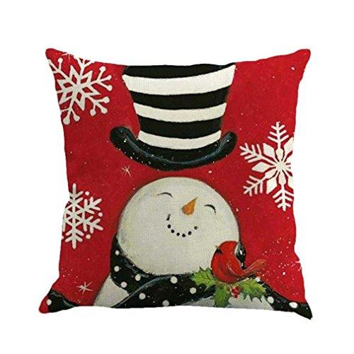 Federe cuscini,fittingran regalo di natale di colore federa di lino stampa buon natale federe per cuscini cuscino per divano in lino home decor cuscino (f)