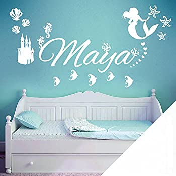 Mirror Wall Sticker 20 Inch Mermaid and 53 PCS Differrent Size Stars Silver Reflection for Kids Room Decoration