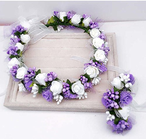 & Coiffe des fleurs de la Couronne guirlande, courroies de coiffure de mariée accessoires de mariage de vacances de bord de mer couronne de couronnes de fleurs ( Couleur : 2 )