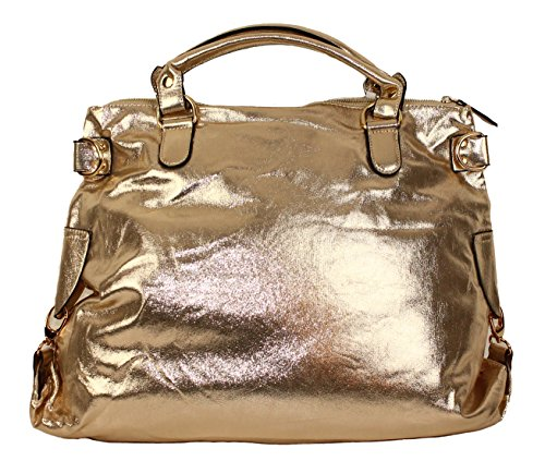 Limited Colors Damen Glitzer Shopper LEXI Lederlook mit Stern Gold