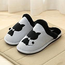 CWAIXXZZ zapatillas de felpa La Sra. zapatillas de algodón grueso de invierno y suelos cálidos interiores zapatos quedarse en casa con una base plana parejas zapatillas de lana para hombres invierno ,38/39 (Recomendaciones 37-38 pies de desgaste), El Gato Negro