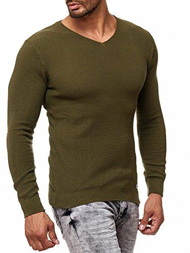 ... Rusty Neal Herren Feinstrick-Pullover V-Ausschnitt Slim Fit Basic  Sweater 13312 Khaki ... 803cb79023