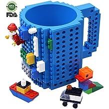 Creativo DIY Lego Mug, Construir sobre ladrillo Taza de café, Juguete de regalo para niños y adultos, Por Kyonne TM (Azul)