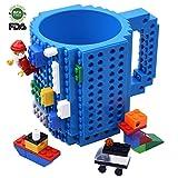Créatif DIY Lego Mug, Construire sur la brique Tasse à café, Cadeau Jouet Coupe pour enfants et adultes, Par Kyonne TM (Bleu)