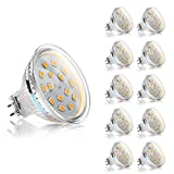 Ascher 10er Pack MR16 GU5.3 3W LED Lampe - vgl. 30W Halogen - 270LM Warmweiß -12V AC / DC - 120° Abstrahwinkel,LED-Reflektorlampe mit GU5.3-Sockel