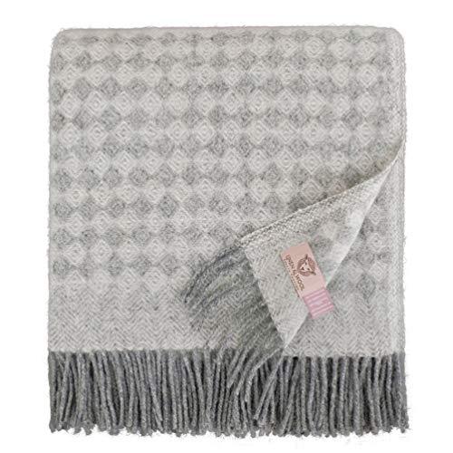 Linen & Cotton Warme Decke Wolldecke Wohndecke Kuscheldecke Paris mit Rautenmuster - 100% Reine Neuseeland Wolle, Grau (140 x 200 cm), Sofadecke/Tagesdecke/Überwurf Decke/Plaid Blanket Schurwolle -