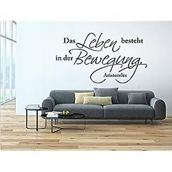 """i-love-wandtattoo adhesivo pared 10954Pegatina de Pared con texto en alemán """"la vie est en el movimiento adhesivos decorativos adhesivo decorativo para pared con cita, rojo, 150 x 83 cm"""