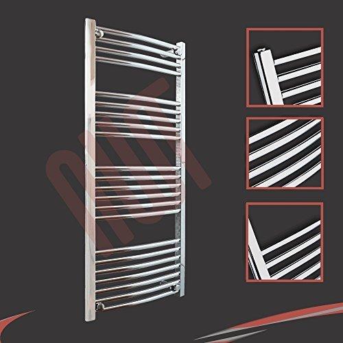 600mm (w) x 1200mm (h) - Radiateur sèche-serviettes incurvé chromé Barre Horizontale Diamètre: 22mm, Bar Modèle: 4 + 5 + 6 + 7